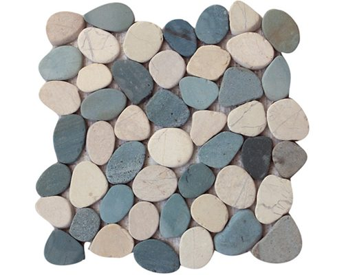 Coin Mix White Green Pebble