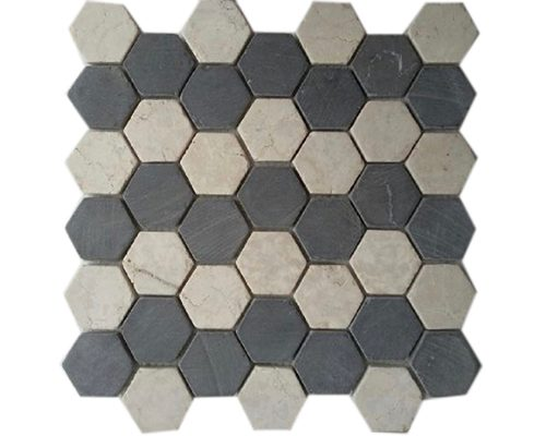 Hexagon Mix White Grey